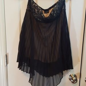 Strapless lace and flare cocktail top